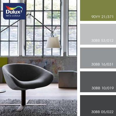 Цвет Dulux 30BB 53/012 (светло-серый) в интерьере гостиной (фото)