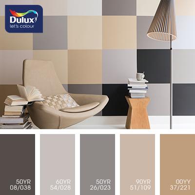 Цвет Dulux 60YR 54/028 (кофейный) в интерьере гостиной (фото)