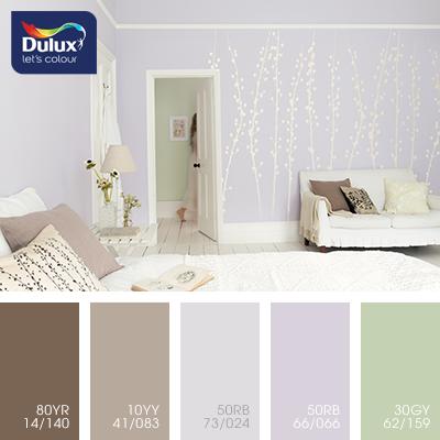 Цвет Dulux 50RB 73/024 (пастельный) в интерьере спальни (фото)