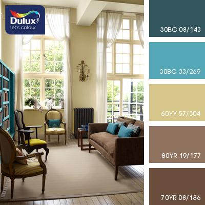 Цвет Dulux 30BG 33/269 (бирюзовый) в интерьере гостиной (фото)