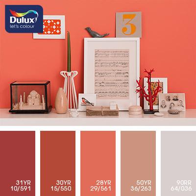 Цвет Dulux 50YR 36/263 (розовый) в интерьере зала (фото)