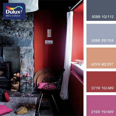 Цвет Dulux 60YR 40/297 (розовый) в интерьере зала (фото)