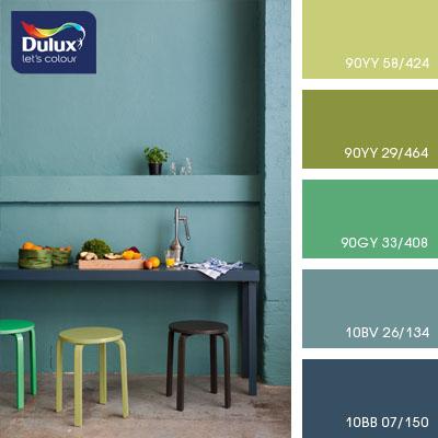 Цвет Dulux 90YY 58/424 (салатовый) в интерьере зала (фото)