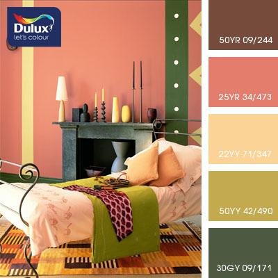 Цвет Dulux 50YR 09/244 (кофейно-коричневый) в интерьере спальни (фото)