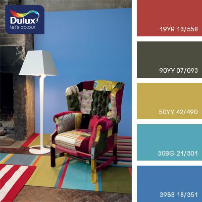 Цвет Dulux 30BG 21/301 (бирюзовый) в интерьере гостиной (фото)